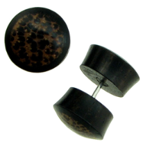 Ebony Wood Fake Gauge Plug Earrings, Coconut Wood Inlays