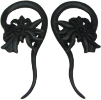 Ebony Wood Floral Hook Gauge Earrings