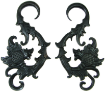 Huge Ebony Wood Hanging Floral Hook Gauge Earrings
