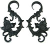 Huge Areng Wood Hanging Floral Hook Earrings, 3 gauge