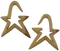 Large Gauge Sawo Wood Hanging Angled Star Earrings