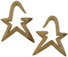 Sawo Wood Hanging Angled Star Earrings, 3 gauge