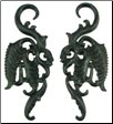Large Gauge Ebony Wood Tall Fancy Feather Earrings (SKU: AWF)