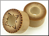 Bamboo Cylinder Plugs, Burnt 4-Pointed Stars (SKU: BCPBD)