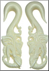 Large Gauge Bone Tall Elephant Head Hook Earrings (SKU: BEH)