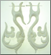 Thorn Style Bone Earrings, Floral S Hooks (SKU: BE30)