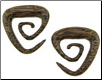 Large Gauge Coconut Wood Triangular Spiral Earrings (SKU: CTS)