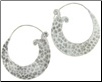 Karen Tribe Silver Large Flat Pounded Hoop Earrings (SKU: E46)