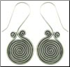 Karen Tribe Silver Large Hanging Coiled Spiral Earrings (SKU: E124)