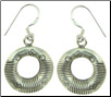 Karen Tribe Silver Hanging Stamped Lines Hoop Earrings (SKU: E132)