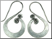 Karen Tribe Silver Hanging Flat S Spiral Earrings (SKU: E50)