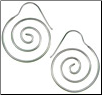 Sterling Silver Hanging Spiral Earrings (SKU: E67)