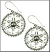 Sterling Silver Hanging Filigree Disc Earrings (SKU: E76)