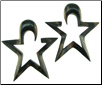 Large Gauge Ebony Wood Hanging Star Earrings (SKU: HAS)
