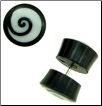 Horn Fake Gauge Plug Earrings, Bone Spiral Inlays (SKU: HF-1)