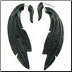 Horn Fake Gauge Hanging Feather Earrings (SKU: HF-23)