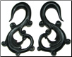 Fancy Horn S Hook Earrings, 4 gauge - 1/2 inch (SKU: HHK-FS)