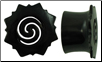 Hollow Horn Saddle Plugs, Borneo Dayak Flower Flares, cut-out Spiral Centers (SKU: HHSBD)