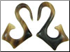 Horn Angled S Hook Earrings, 10 gauge - 8 gauge (SKU: HKS)
