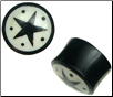 Horn Saddle Plugs, Black Stars, Dots (SKU: HP-SD)