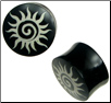 Horn Saddle Plugs, Painted Spiral Sun Designs, 7/16 inch - 1 inch (SKU: HP-SS)