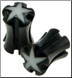 Horn Saddle Plugs, Holes, Stars, 2 gauge - 3 gauge (SKU: HPHS)