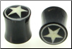 Horn Saddle Plugs, White Star Circle Border Inlays, 3 gauge - 1/2 inch (SKU: HSDIS-00)
