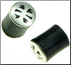 Designed Silver Capped Horn Saddle Plugs, 3 gauge (SKU: HSSC-X)