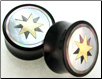 Astrological Star Horn Plugs, Mother of Pearl Shell Inlays (SKU: HSSI-AS-78)
