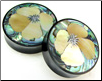 Horn Saddle Plugs, California Poppy Flower Shell Inlays, 1-3/4 inch (SKU: HSSI-CP-134)
