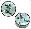 "Horn Saddle Plugs, Japanese Kanji Friendship Shell Inlays, 7/8"" - 1-1/2"" (SKU: HSSI-K3)"