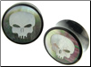 Horn Saddle Plugs, Shell Skull Face Inlays, 1 inch (SKU: HSSI-SF-1i)