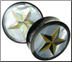 Horn Saddle Plugs, Mother of Pearl Shell Inlays, Star, 1-1/2 inch (SKU: HSSI-ST-112)