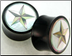 Horn Saddle Plugs, Shell Star Inlays, 7/8 inch (SKU: HSSI-ST-78)