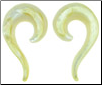Mother of Pearl Small Question Mark Spiral Earrings, 17 gauge - 00 gauge (SKU: MOPQSS)
