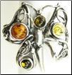 Sterling Silver Multi-Colored Baltic Amber Butterfly Ring (SKU: R20-A)