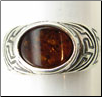 Sterling Silver Egyptian Oval Baltic Amber Ring (SKU: R45)
