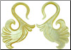 Large Gauge Mother of Pearl Shell Bird Tail S Hook Earrings (SKU: SH8)
