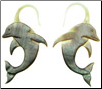 Black Mother of Pearl Shell Dolphin Earrings, 13 gauge (SKU: SHD)