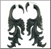 Ebony Wood Fake Gauge Fancy Hanging Earrings (SKU: WF-18)