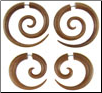 Sawo Wood Fake Gauge Spiral Earrings (SKU: WF-3)
