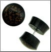 Ebony Wood Fake Gauge Plug Earrings, Coconut Wood Inlays (SKU: WF-7)