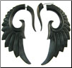 Fake Gauge Ebony Wood Seraphim Wing Earrings (SKU: WF04)