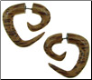 Coconut Wood Fake Gauge Triangular Spiral Earrings (SKU: WF12)