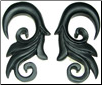 Large Gauge Ebony Wood Bird's Tail Hook Earrings (SKU: WHA-BT)