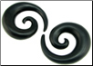 Areng Wood Spiral Earrings, 7 gauge - 1-1/4 inch (SKU: WSA-58)