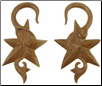 Large Gauge Sawo Wood Hanging Fancy Star Earrings (SKU: WSH1)