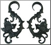 Huge Ebony Wood Hanging Floral Hook Gauge Earrings (SKU: WSH11)