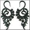 Tall Areng Wood Hanging Floral Hook Gauge Earrings (SKU: WSH12)