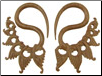 Large Gauge Sawo Wood Hanging Fancy Lace S Hook Earrings (SKU: WSH7)